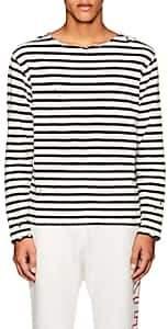 R 13 Men's Breton Distressed Striped Cotton T-Shirt - Black