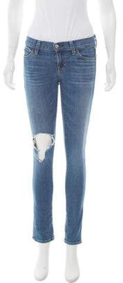 Elizabeth and James Distressed Low-Rise Skinny Jeans