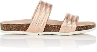 Barneys New York Women's Double-Band Metallic Leather Slide Sandals