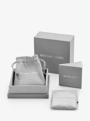 Michael Kors Precious Metal-Plated Sterling Silver Pave Lock Necklace