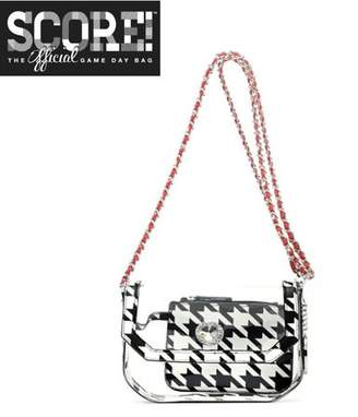clear PU Cross Body Shoulder Bag for Game Day Chrissy Houndstooth & Racing Red by SCORE! The Official Game Day Bag Two Piece Set