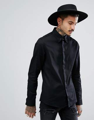 Asos Skinny Twill Shirt With Collar Bar In Black