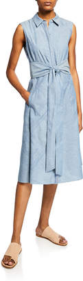 Lafayette 148 New York Malise Sleeveless Dress with Tie-Waist