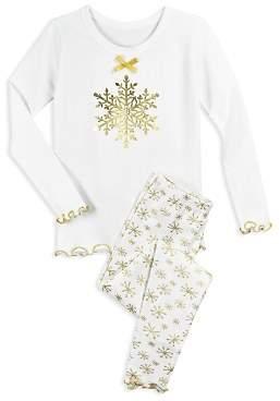 Sara's Prints Girls' Metallic Snowflake-Print Pajama Shirt & Pants Set - Little Kid