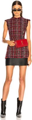 Alexander McQueen Leather Trim Tweed Mini Dress