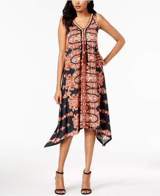 John Paul Richard Petite Printed Handkerchief-Hem Tassel Dress