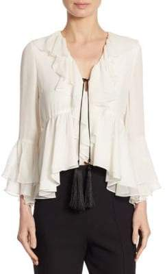 Pacifique Ruffle Bell-Sleeve Silk Top