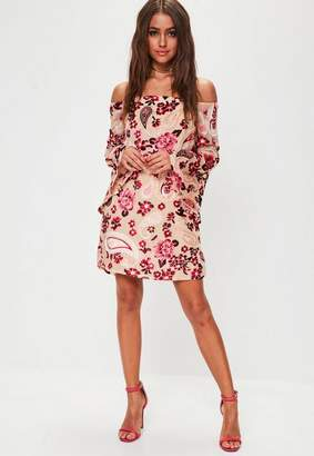 Missguided Nude Floral Velvet Flare Sleeve Dress