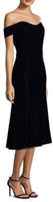Shoshanna Off-The-Shoulder Velvet Dress