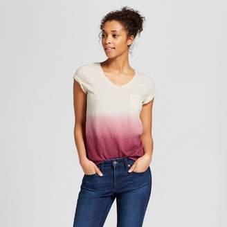 Universal Thread Women's Monterey Pocket V-Neck Short Sleeve T-Shirt - Universal Thread Pink Dip Dye