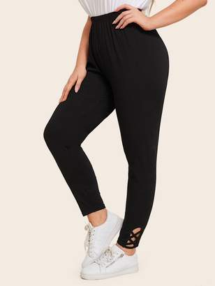 Shein Plus Criss Cross Cuffed Solid Leggings