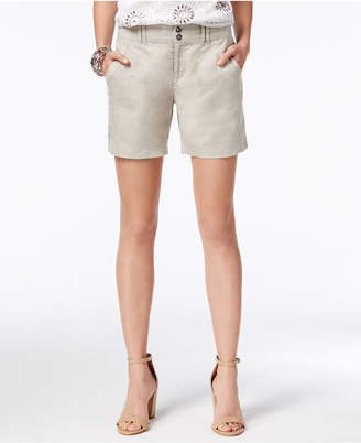 INC International Concepts Linen Curvy-Fit Shorts, Only at Macy's $49.50 thestylecure.com