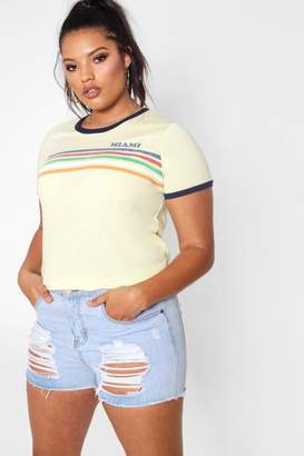 boohoo Plus Crew Neck Miami T Shirt
