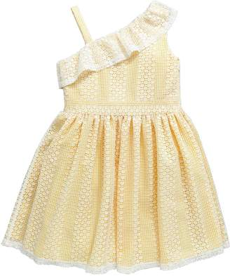 Very Girls One Shoulder Frill Dress - Lemon