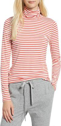 Lou & Grey Stripe Softened Jersey Turtleneck