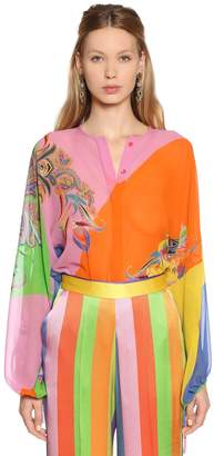 Etro Color Block Printed Silk Georgette Shirt