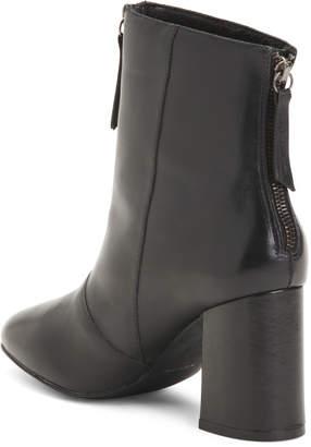 Front Zip Leather Booties