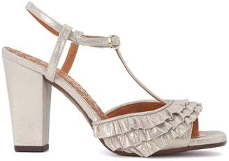 Chie Mihara (チエ ミハラ) - Chie Mihara Brunella Metallic Leather Heeled Sandal With Rouches