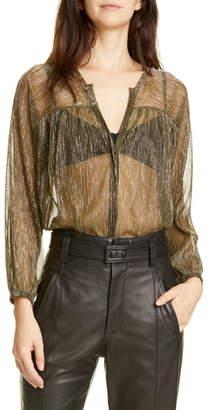 Joie Esra Sheer Metallic Stripe Shirt