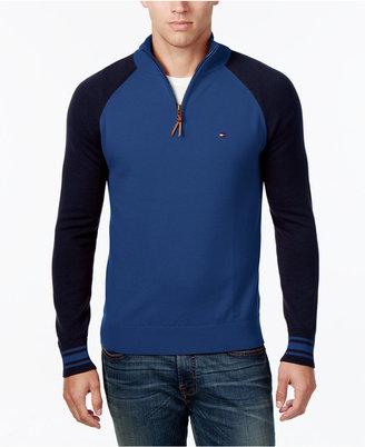 Tommy Hilfiger Men's Colorblocked Quarter-Zip Sweater $89.50 thestylecure.com