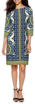 London Times 3/4 Sleeve Sheath Dress