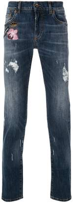 Dolce & Gabbana distressed slim fit jeans with patches