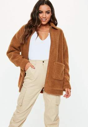 Missguided Tall Brown Oversized Borg Zip Through Teddy Jacket