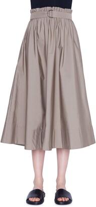Akris Punto Belted Paperbag Waist Midi Skirt