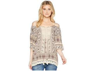 Angie Cold Shoulder Print Top Women's Blouse