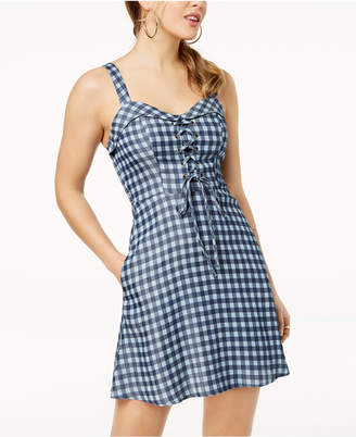 Speechless Juniors' Gingham-Printed Lace-Up Fit & Flare Dress