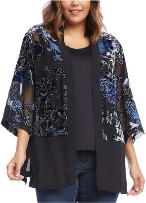 Karen Kane Plus Size Embroidered Semi-Sheer Kimono