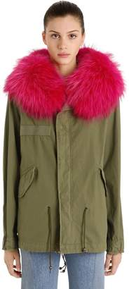 Mr & Mrs Italy Mr&Mrs Italy Mini Cotton Canvas Parka W/ Fur Trim