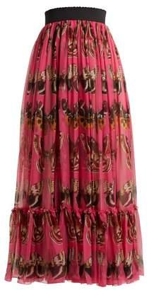Dolce & Gabbana - Butterfly Print Silk Chiffon Maxi Skirt - Womens - Pink Print