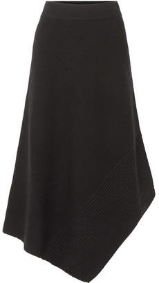 Elizabeth and James Viona Asymmetric Ribbed Merino Wool-blend Midi Skirt - Black