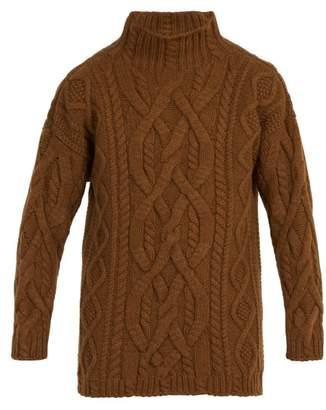 Connolly - Oversized Aran Knit Wool Blend Sweater - Mens - Brown