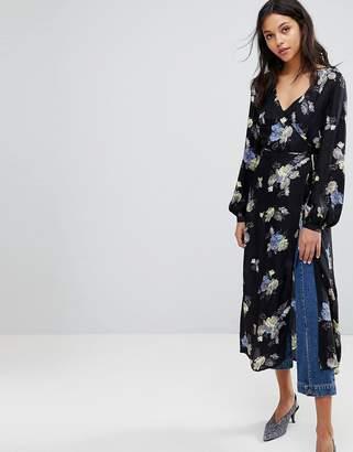 Gestuz Flower Print Wrap Kimono Dress