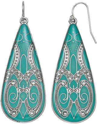 Mudd Teal Filigree Nickel Free Teardrop Earrings