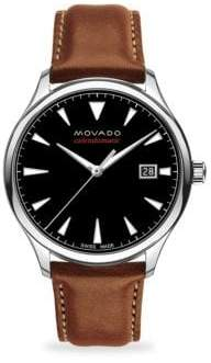 Movado Heritage Automatic Round Stainless Steel& Leather Strap Watch
