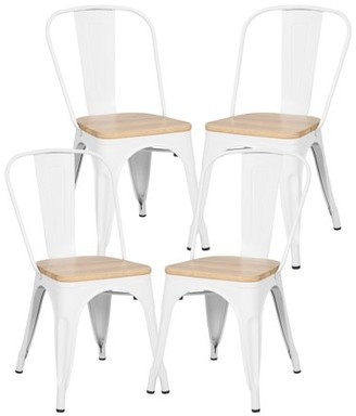 Poly and Bark Trattoria Side Chair in with Oak Seat in White (Set of 4)