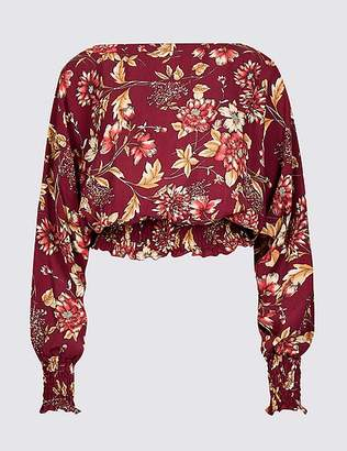 Marks and Spencer Floral Print Slash Neck Long Sleeve Blouse