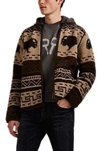 RRL Men's Cowichan Folkloric Sherpa Jacket - Brown