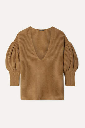 Caroline Constas Ribbed Cotton And Wool-blend Sweater - Camel