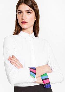 Paul Smith Women's White Stretch-Cotton Shirt With 'Cycle Stripe' Cuff Linings