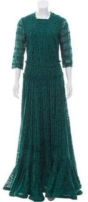 Lanvin Long Sleeve Lace Gown