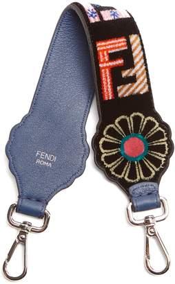 FENDI Strap You logo-print velvet short bag strap
