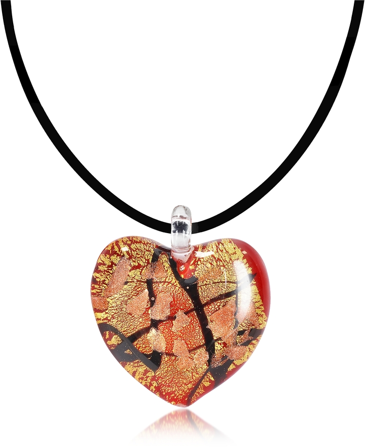 Antica Murrina Passione - Red, Gold and Black Murano Glass Heart Pendant