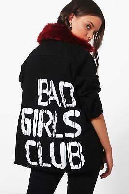 Damen Mia Übergroße Jacke aus Denim mit Rücken-Print und Kunstfellkragen