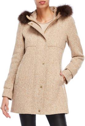 Ellen Tracy Real Fur Trim Hooded Melange Coat