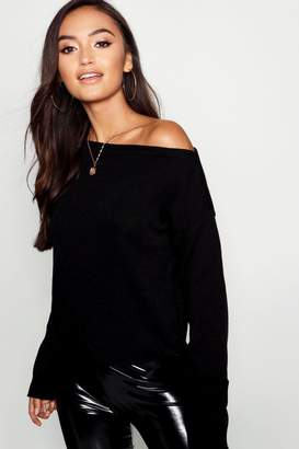 boohoo Petite Slash Neck Slouchy Sweater