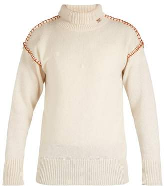 Loewe Blanket Stitch Roll Neck Wool Sweater - Mens - White